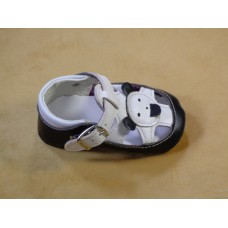 Boy-baby Shoes in Black and white leather